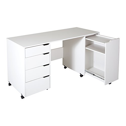 Ordinaire South Shore Crea Sewing Craft Table On Wheels, Pure White