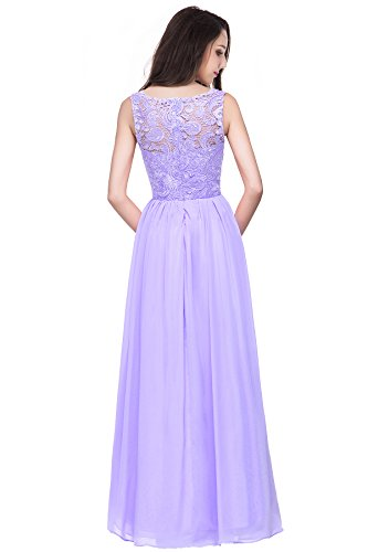 Chiffon Abendkleid Damen Ball Lila Abschlussballkleid Misshow Lang Spitzenkleid Elegant wFy4z