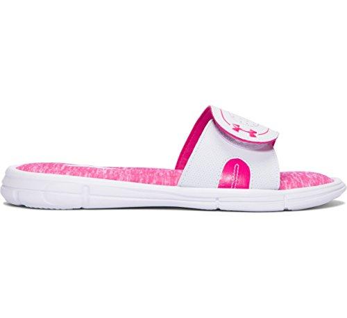 Under Armour Women's UA Ignite Pip VIII Slide White/Tropic Pink 7 B US B (M)