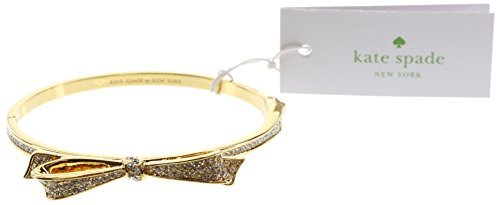 Bow Bracelet (Kate Spade New York Love Notes Bangle Hinged Bracelet (Clear/Gold))