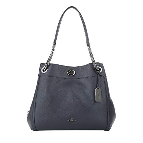 Shoulder Pebbled Bag Leather Edie Polished Bleu Turnlock Black Coach xqIaUwTPYn