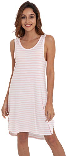GYS Women's Soft Bamboo Scoop Neck Nightgown, Pink White Stripe, Medium