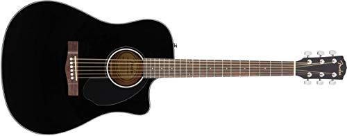Fender CD-60SCE Acoustic-Electric Guitar - Dreadnought Body Style - Black Finish