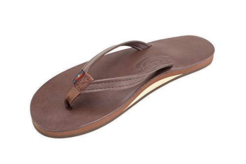 Rainbow Sandals Women's Single Layer Premier Leather Narrow Strap, Mocha, Ladies Small / 5.5-6.5 B(M) US