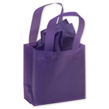 250 Grape Purple Plastic Bags Frosted High Density Flex Loop Shoppers 6 1 2 X 3 1 2 X 6 1 2