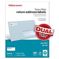Office Depot White Inkjet/Laser Return Address Labels, 2/3in. x 1 3/4in., Pack Of 1,500, 505-O004-0015