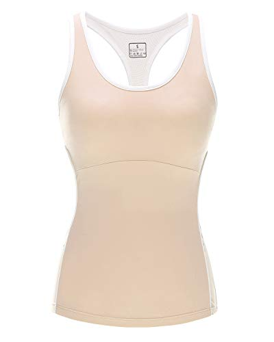Women Stretch Tank Tops Built-in Shelf Bra, Lightweight Yoga Camisole Vest for Workout Gym Fitness (Cream, M)