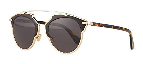 New Christian Dior SO REAL LEATHER P7P/Y1 gold black havana/grey - So Sunglasses Christian Dior Real