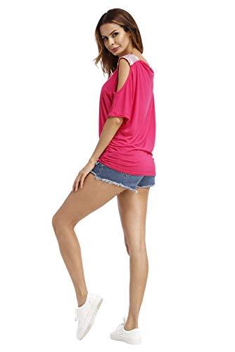 Haut Femme Top Epaule a Mode Courte Jumpers Couleur Blouse Casual Volant Chemiser Tunique Chemise Sweatshirt Uni Col Asymetrique Ete Sexy de Pull T en Chic Lace Shirt Manche D Rose Bateau Shirt Denudee AEXqf