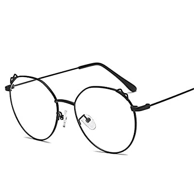 FeliciaJuan Adult Glasses Personality Cat Ears Glass Frame General Computer Goggles Men and Women
