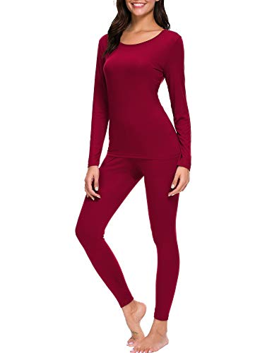 CzDolay Womens Thermal 2 Pc Long John Underwear Set Smooth Knit Top and Bottom (Wine Red, Medium)