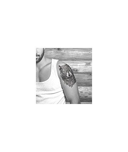 Tatuaje efímero hombre, diseño de lobo: Amazon.es: Belleza