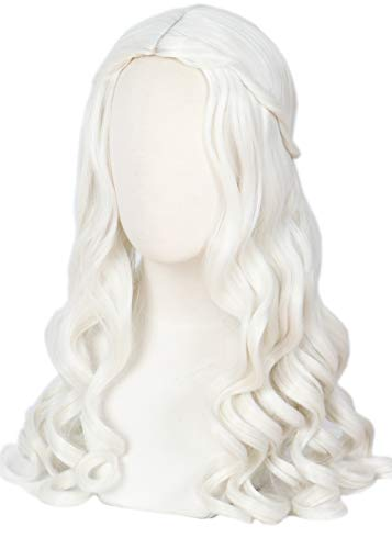 Linfairy Women Girl's White Blonde Long Wavy Wig Halloween Cosplay Costume Queen Wig -