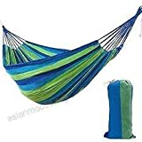 Millennial-Products Brazilian Double Hammock - 2 Person Bed for Backyard, Porch, Outdoor and Indoor Use - Soft Woven Cotton Fabric (Blue/Green)