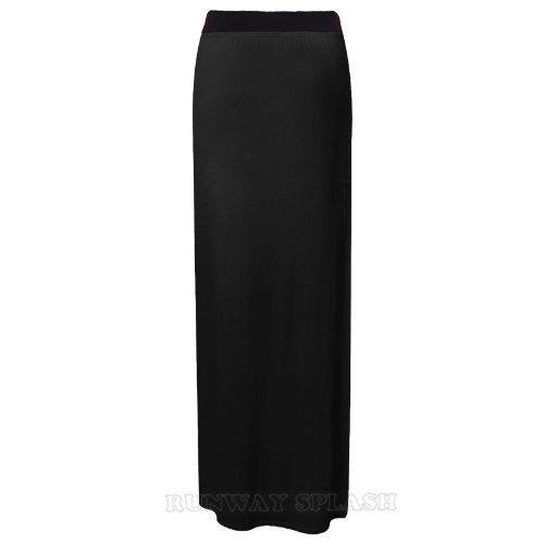 Runway Mujer Tela Negro Elástica Splash Para Maxifalda rvtwn18Hr