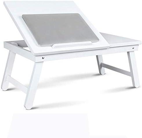 折り畳み式の脚、折り畳み式のソファ朝食テーブル、ソファーフロア用ノートPCスタンド読むホルダー付きノートパソコンのベッドテーブル、ポータブル立ちデスク、,白