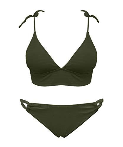 SHEKINI Women's Two Pieces Solid Shirred Bandage Bikini Swimsuit (Olive Green, Small)