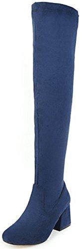 Aisun Damen Sexy Overknee Runde Zehen Blockabsatz Langschaft Stiefel Mit Reißverschluss Blau