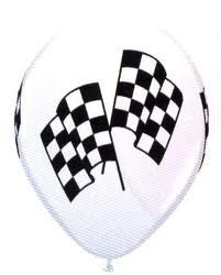12 Checkered Racing Flag Balloons by Qualatex