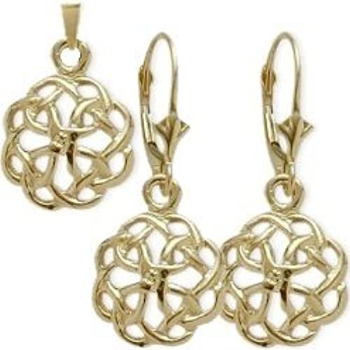 7f4833259f95 free shipping 10 Karat Yellow Gold Celtic Knot Earrings   Pendant Set with  chain