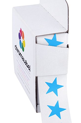 "3/4"" Blue Star Stickers in Dispenser Box - 1,000 Labels per Box, Permanent Adhesive"
