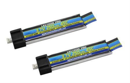Common Sense RC Lectron Pro 3.7V 250mAh 45C LiPo Battery for Blade/Nano/Tiny Whoop/UMX AS3Xtra Drones, 2-Pack
