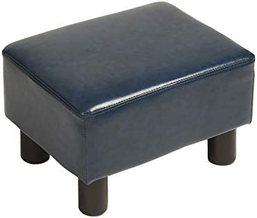 windaze Ottoman Footrest Stool PU Leather Seat Couch Small Chair,Dark Blue