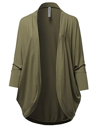 (Premium 3/4 Sleeve Loose Cocoon Open Front Pocket Cardigan Olive S)