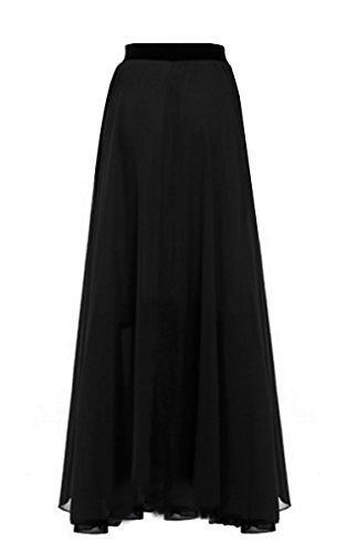 FashionShop365 Women's Regular and Plus Size Comfortable and Versatile Maxi-Skirt Black XL