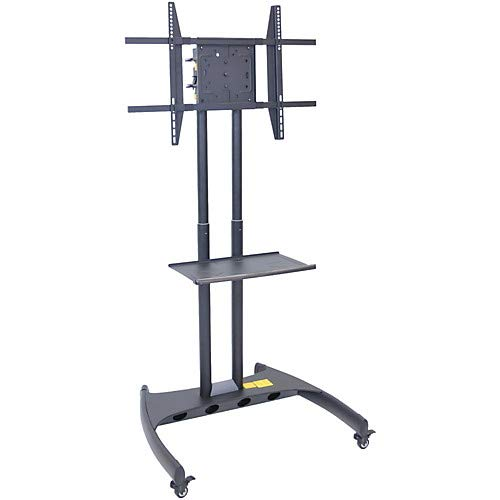Luxor Instrument Carts - Luxor Adjustable Flat Panel Cart with Shelf and Rotating Mount
