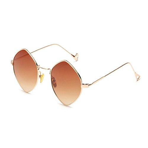Polygonal Cru soleil Marron Deylaying Des Lunettes Mode de lunettes Lunettes ou soleil Cadre Or Miroir de Métal Femme Homme Voyager Rq85q