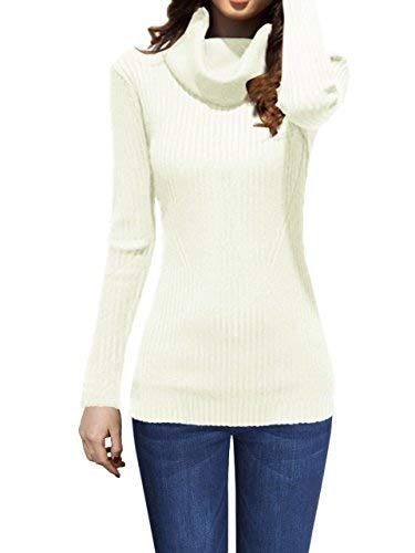 - v28 Women Stretchable Cowl Neck Knit Long Sleeve Slim Fit Bodycon Sweater-L,WH