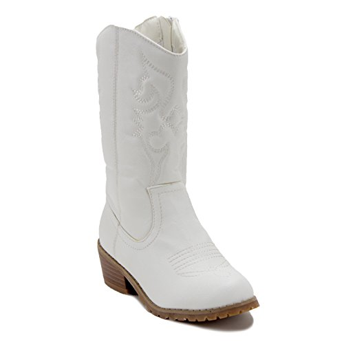 Jazame Little Kids' Girls Tall Stitched Western Cowboy Cowgirl Boots, White, 10