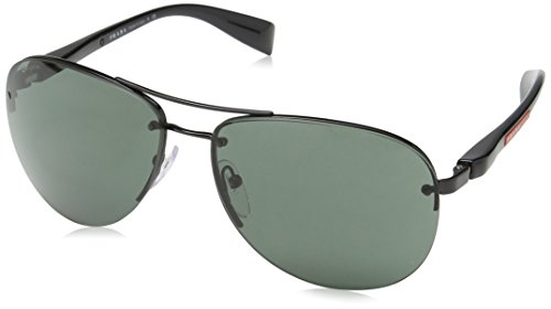 Prada PS56MS Sunglasses 7AX3O1-62 - Black Frame, Gray Green