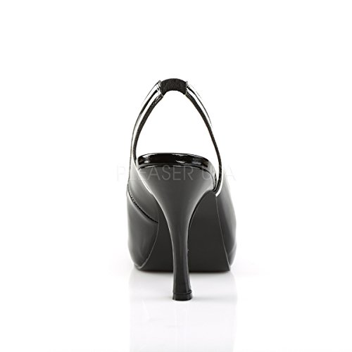 Pleaser Pink Label Womens Big Size Slingback Peep Toe Court Shoes Pinup-10 Black Patent black patent tjLgmd