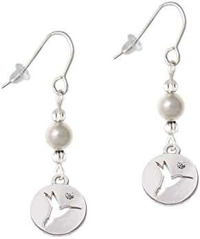 Hummingbird Disc Imitation Pearl French Earrings