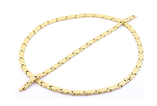 (Hugs and Kisses Stainless Steel Stampato Necklace and Bracelet Set Gold Tone 20