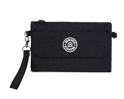 Strap Zipper Big Bag Handbag Dual Shoulder Wristlet With Clutch Cell Layers Phone black Pouch Nylon Waterproof Purse qxnZx56