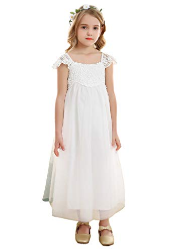 (Bow Dream Vintage Rustic Baptism Lace Flower Girl's Dress White Tulle)