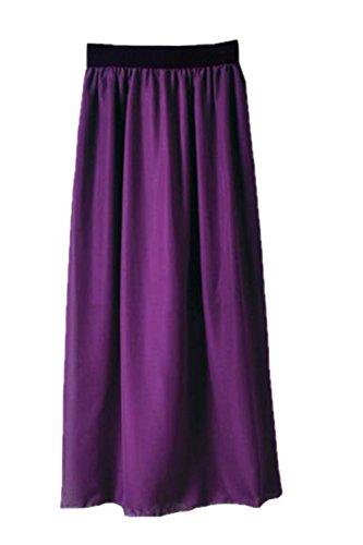 Haililais Femme Jupe Longue Taille Extensible Jupe Mousseline Glamour Skirt Grande Taille Femelle Jupe De Cocktail ElGant Jupe Dark Purple