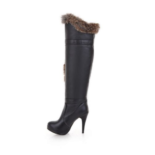Charme Voet Mode Nepbont Dames Platform Hoge Hak Over De Knie Laarzen Zwart