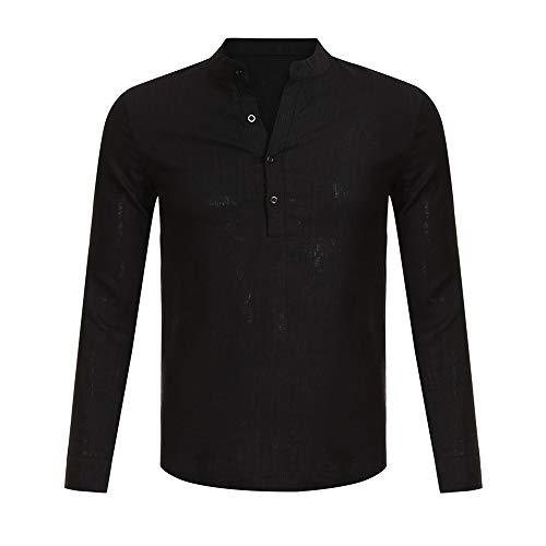 Lin Mode 2019 Long Manches V Coton Col À Casual Noir Sleeve Homme Fit Ciellte Boutons Business Blouses Shirts Henley Blouse Longues q5EUtt