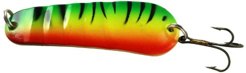 Akuna SP02 3-Inch Ridged Casting Spoon Fishing Lure for Northern Pike, Salmon, Walleye and Largemouth Bass, Firetiger, Five of One Color