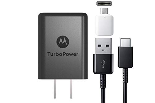 Motorola 15w TurboPower TYPE C Charger - With Google C USB Adapter, Stylus For Moto X4, Z2