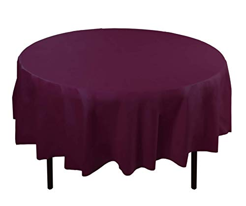 12-Pack Premium Plastic Tablecloth 84in. Round Table Cover - Plum -