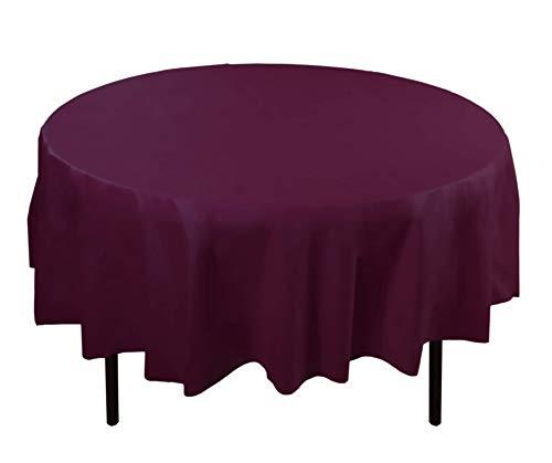 6-Pack Premium Plastic Tablecloth 84in. Round Plastic Table cover - Plum ()