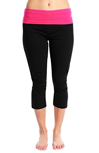 (Nouveau Women's Workout Active Capri Yoga Pant with Contrasting Color Waistband Casual Loungewear - Black W. Pink, 1X)