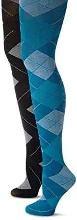 MUSIC LEGS Women's 2 Pack Opaque Woven Argyle Pantyhose, Blue/Grey, One Size