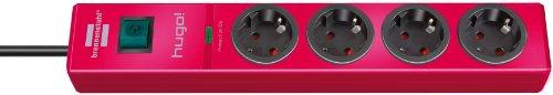 Brennenstuhl hugo! Überspannungsschutz-Steckdosenleiste 4-fach rubinrot mit Schalter, 1150610374