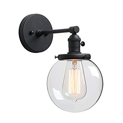 """Phansthy 1-Light Vintage Industrial Wall Light with 5.9"""" Round Canopy"""